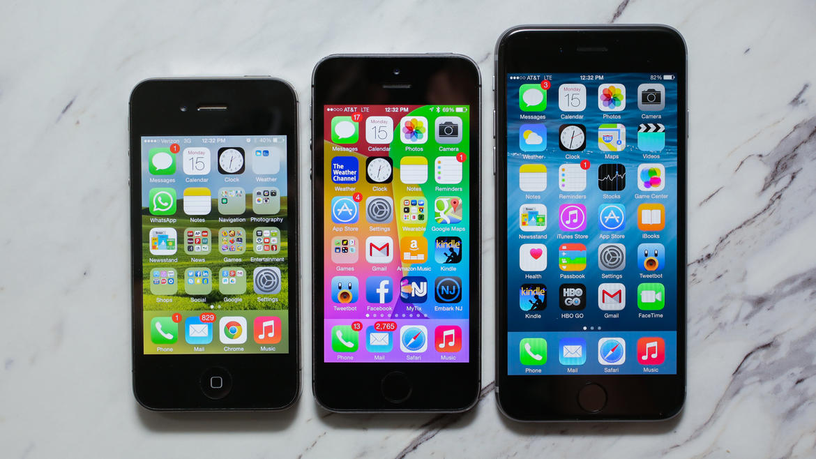 Apple iPhone 6 with iPhone 5S and iPhone 4S