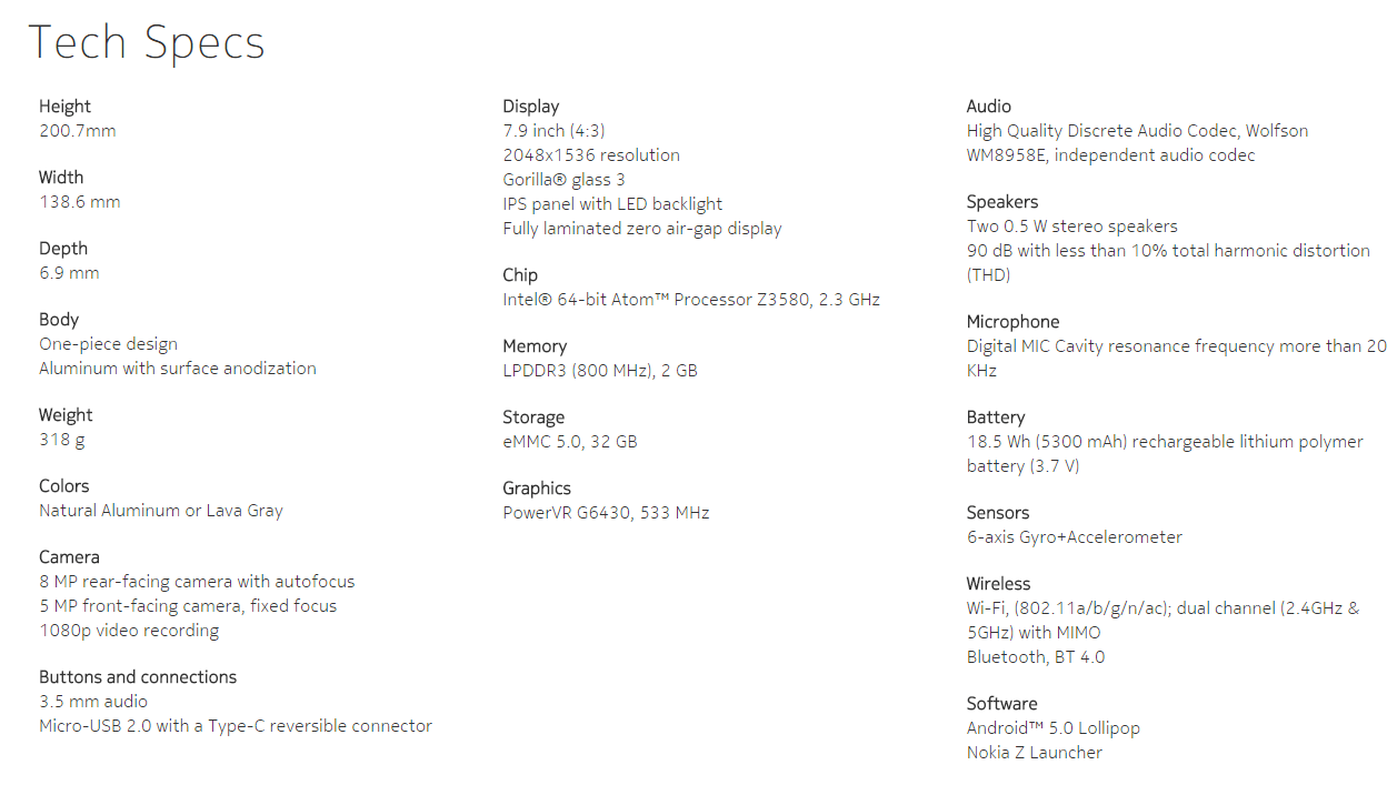 Nokia-N1-Specifications