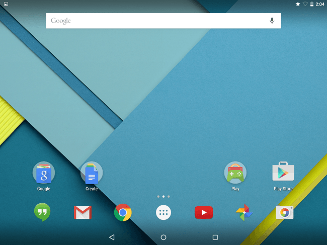 Google Nexus 9 Home Screen running Android Lollipop