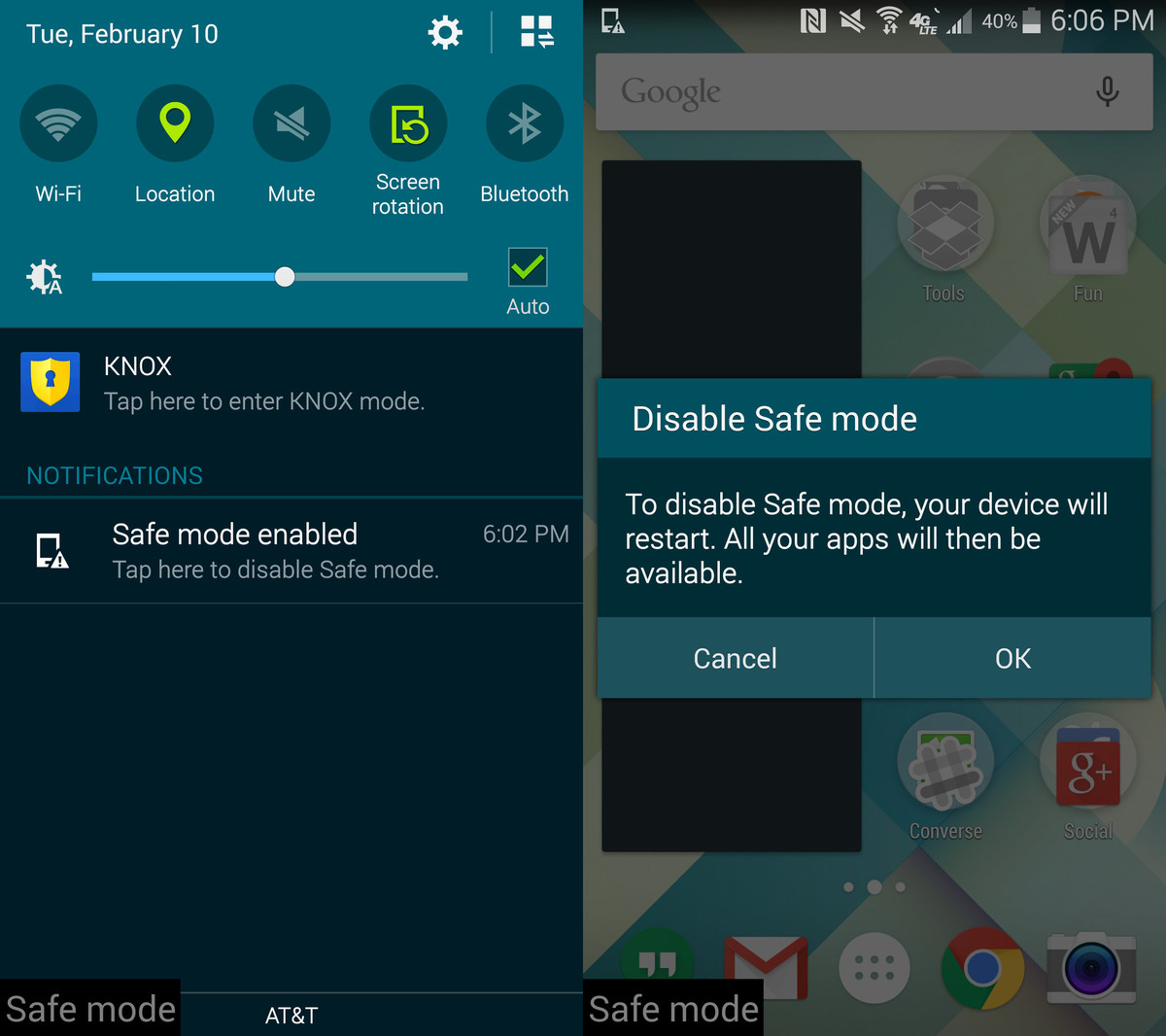 disabling Safe mode in Samsung Galaxy Note 4