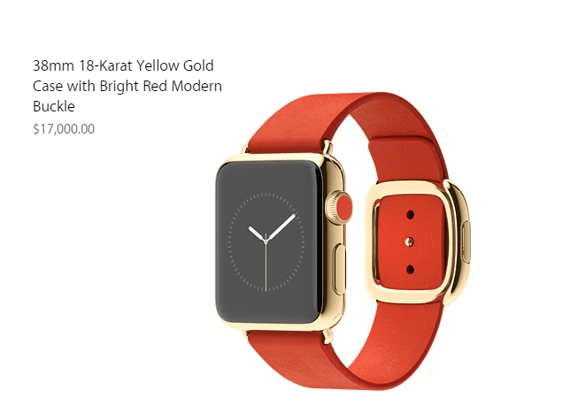 Apple Watch Eidition made of 18 karat gold will cost of $17000