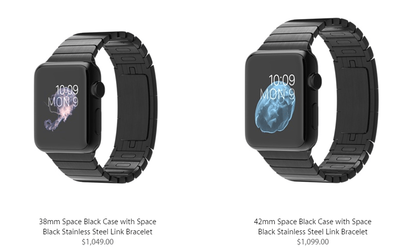 Apple Watch Pricing for space black stainless steel link bracelet