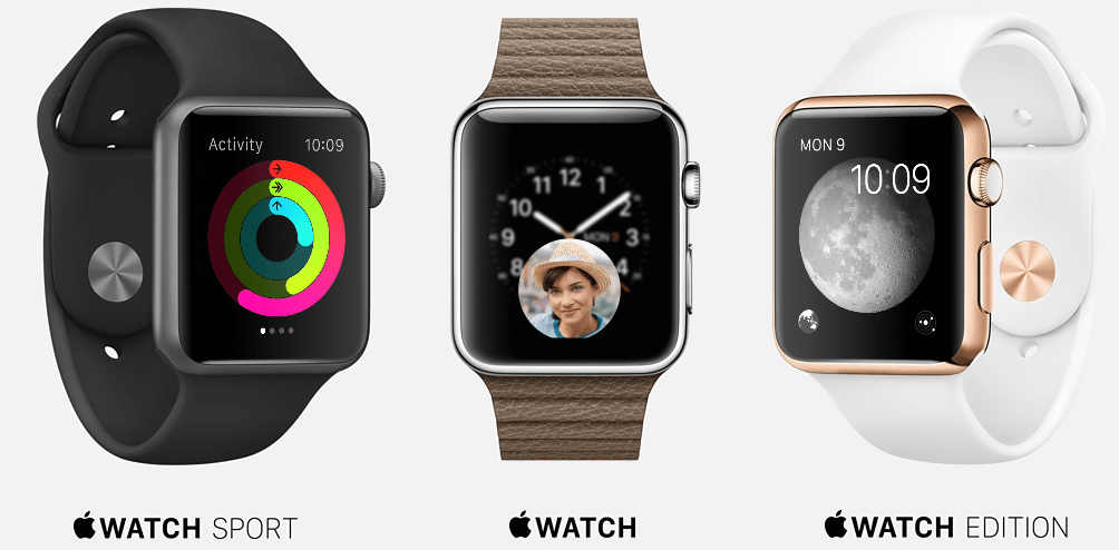 Apple Watch comes in 3 models, Apple Watch, Apple Watch Sport and the Apple Watch Edition