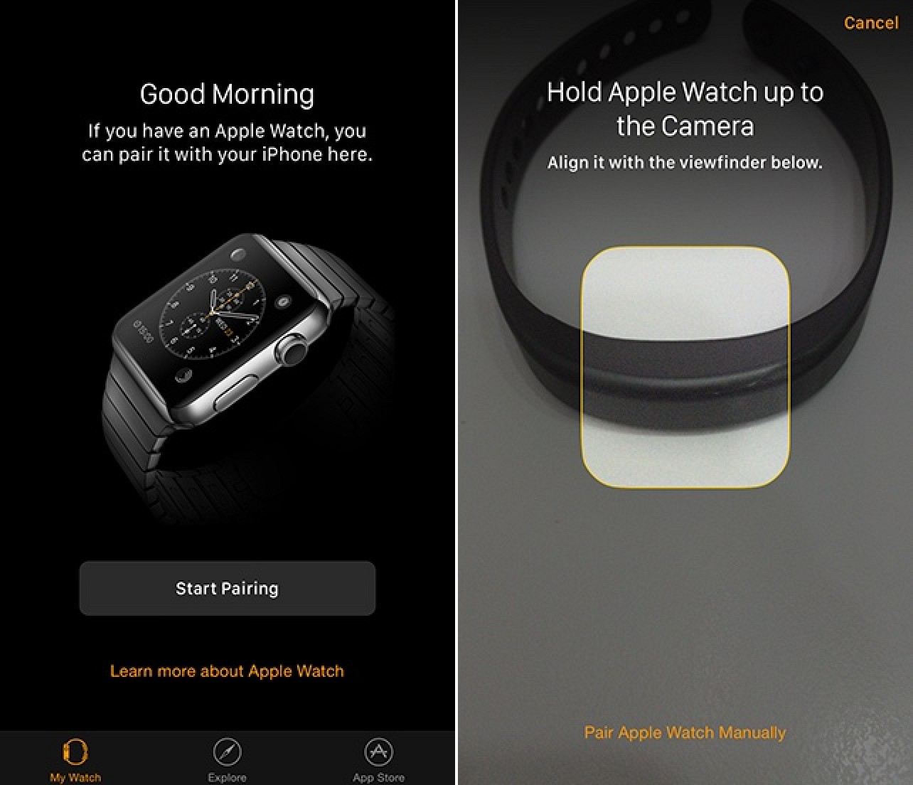Watch Pairing with the iPhone companion app installed with iOS 8.2