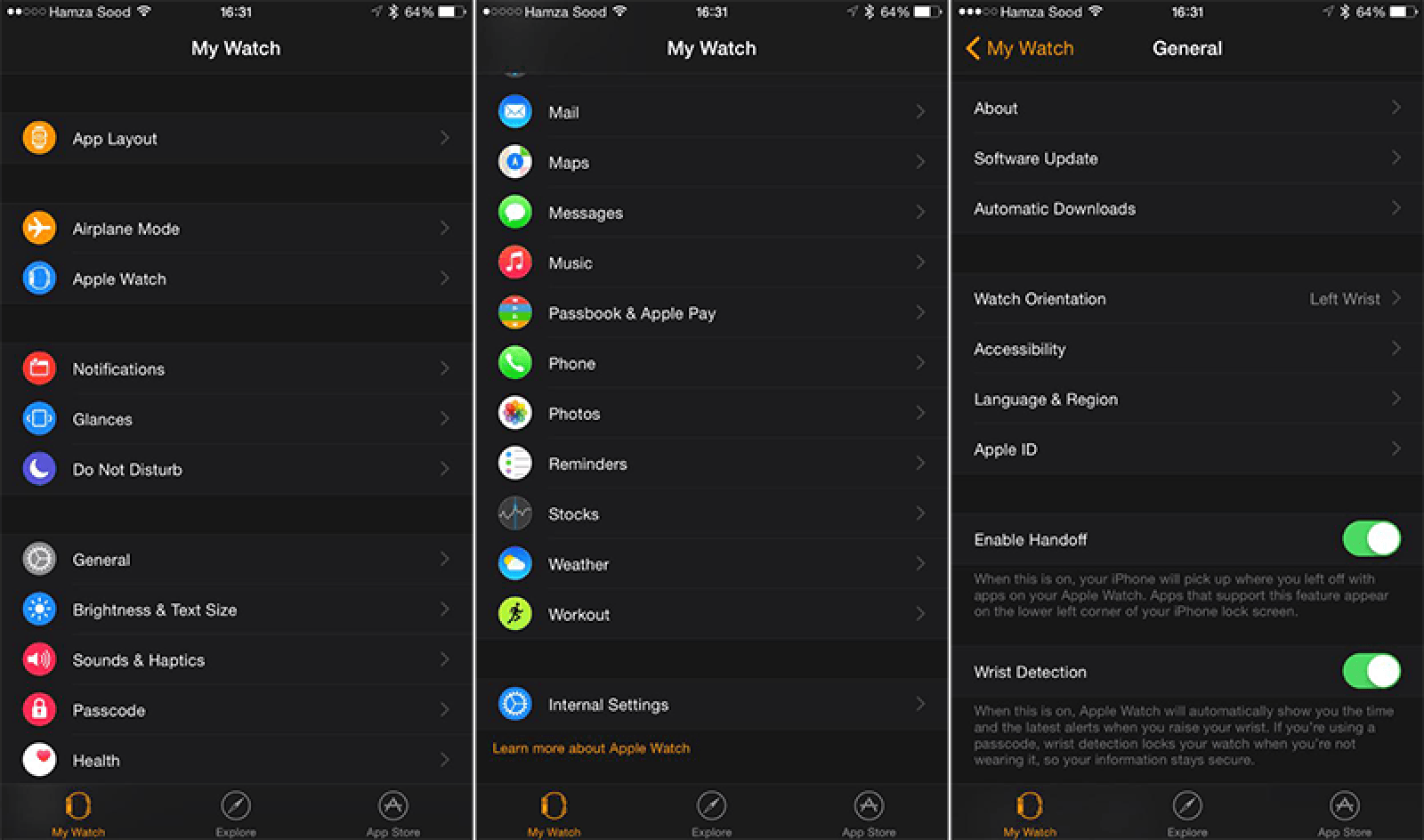 Watch Settings screen on the iPhone companion app installed with iOS 8.2