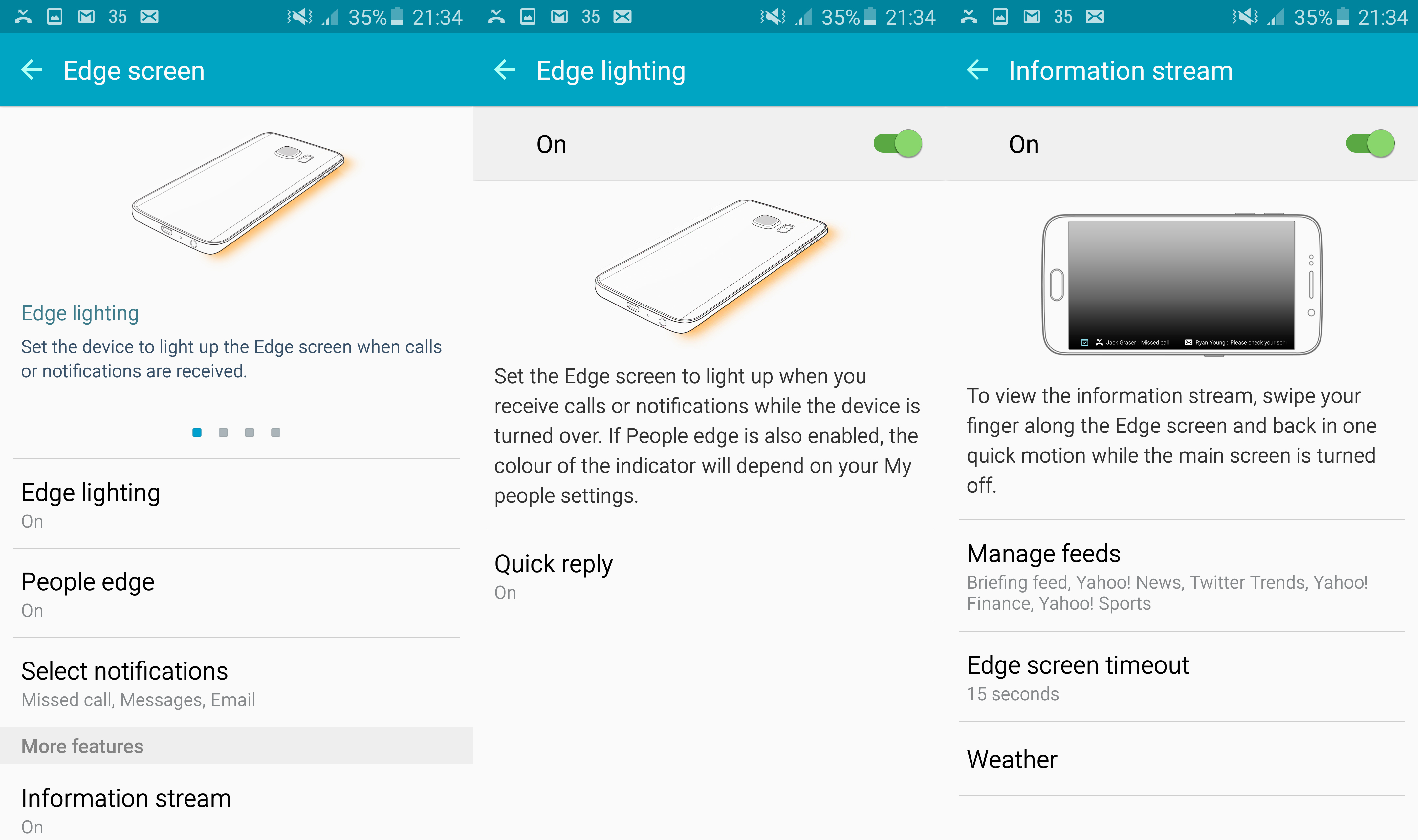 Samsung Galaxy S6 Edge Display Settings Information Stream Screen