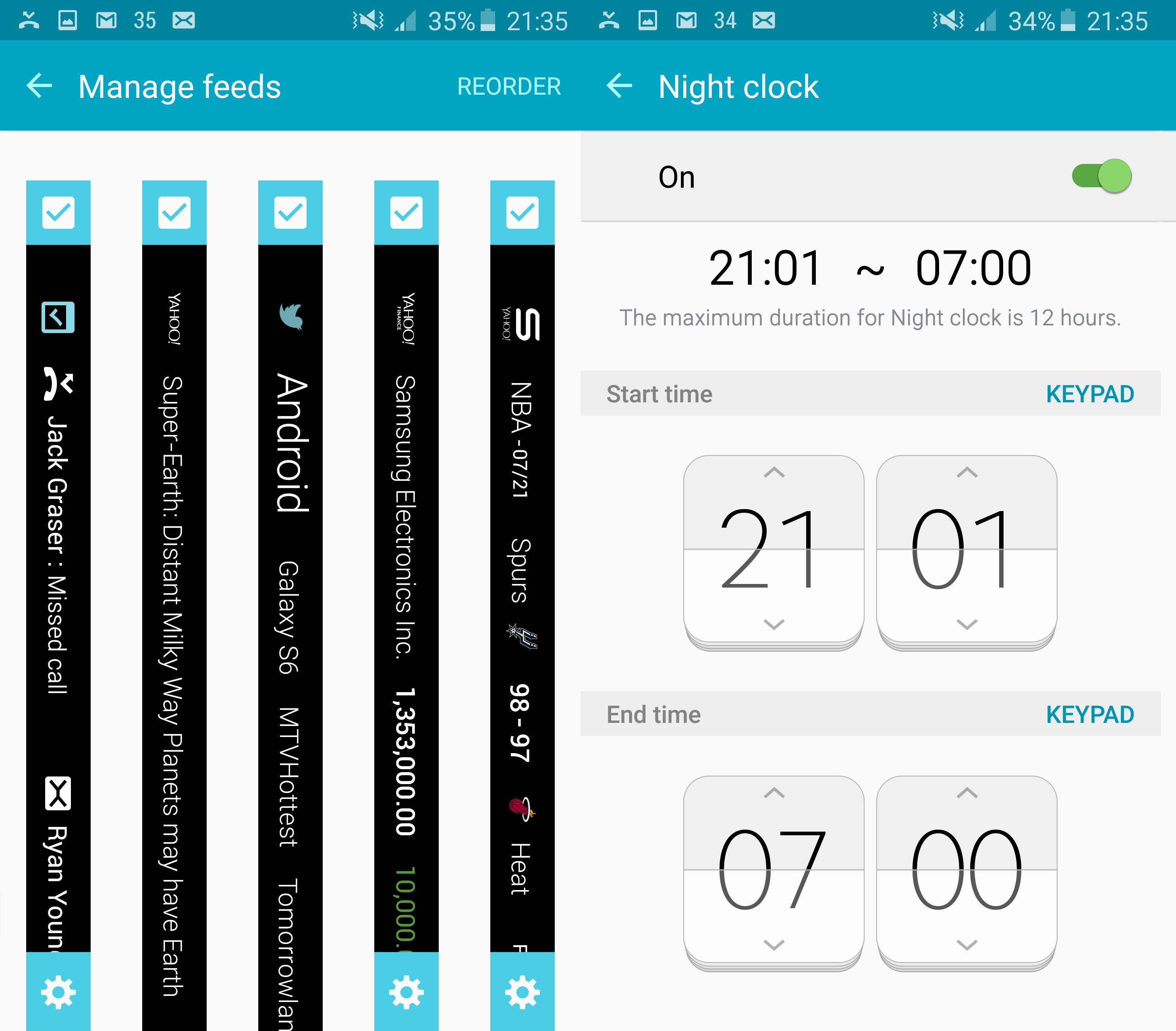 Samsung Galaxy S6 Edge Display Settings Night Clock Screen