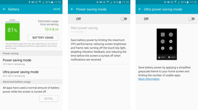 Samsung Galaxy S6 Edge offers power saving mode which can give you 4 hours of battery life while only 4% charged