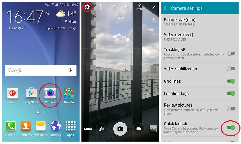 galaxys6 how to quick launch camera