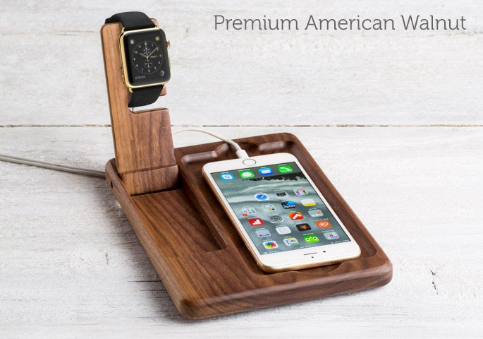The Timber Catchall for Apple Watch walnut accessories