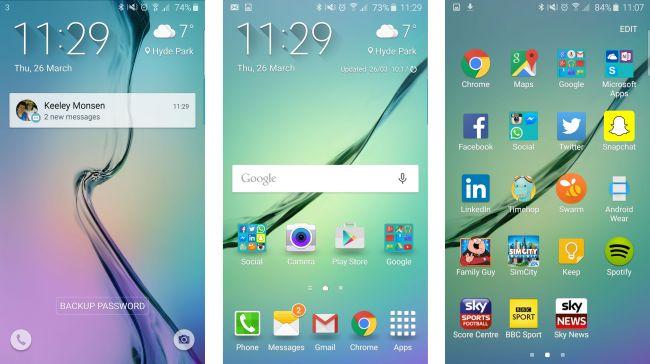 Samsung Galaxy S6 Edge Display running Android Lollipop