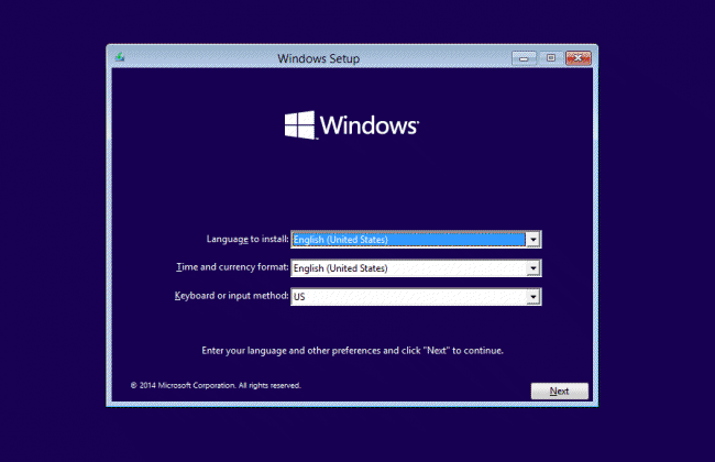 Windows 10 installation setup
