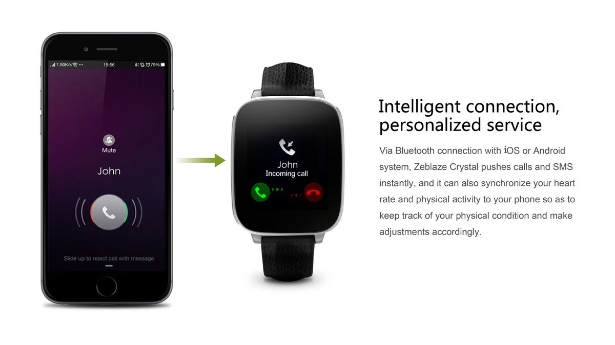 Zeblaze Crystal smartwatch pairs with Android and iOS both