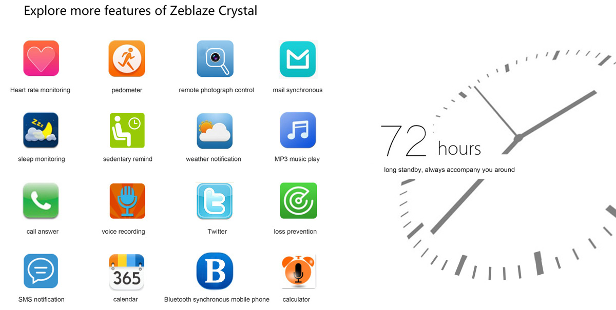 Zeblaze Crystal smartwatch supports 72 hours of stand by time