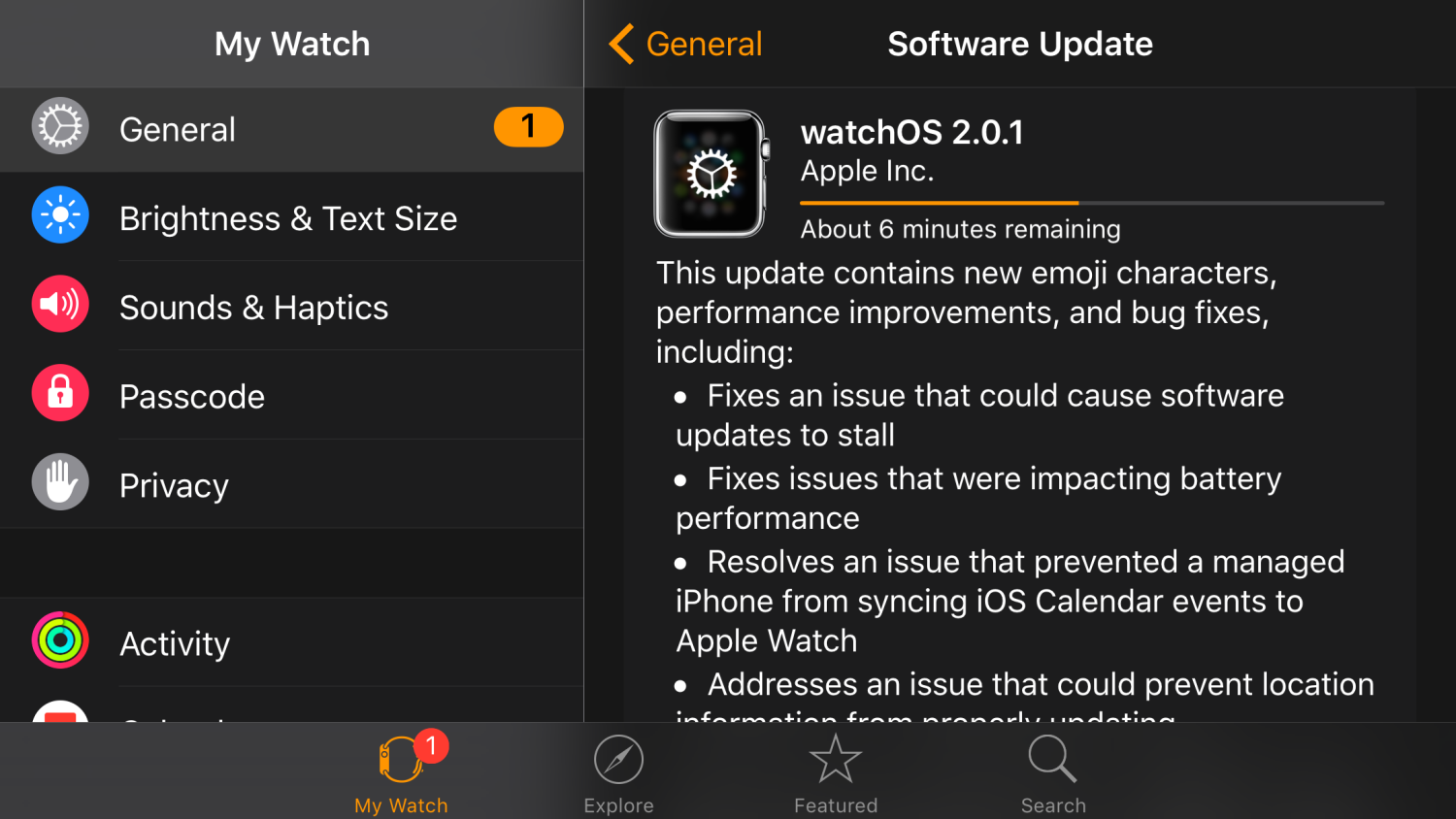 Apple releases watch OS 2.0.1 with battery improvements