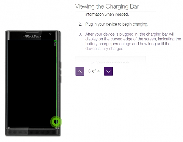 How to view the charging bar in Productivity Edge of BlackBerry Priv