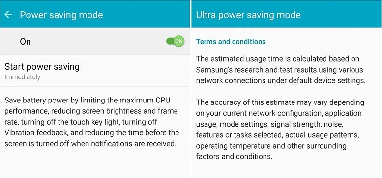Galaxy Note 5 battery life can be improved dramatically by enabling the Power Saving mode
