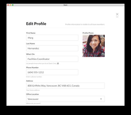 Slack profile
