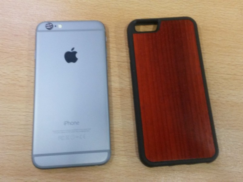 carved wooden cases for iPhone 6 side by side