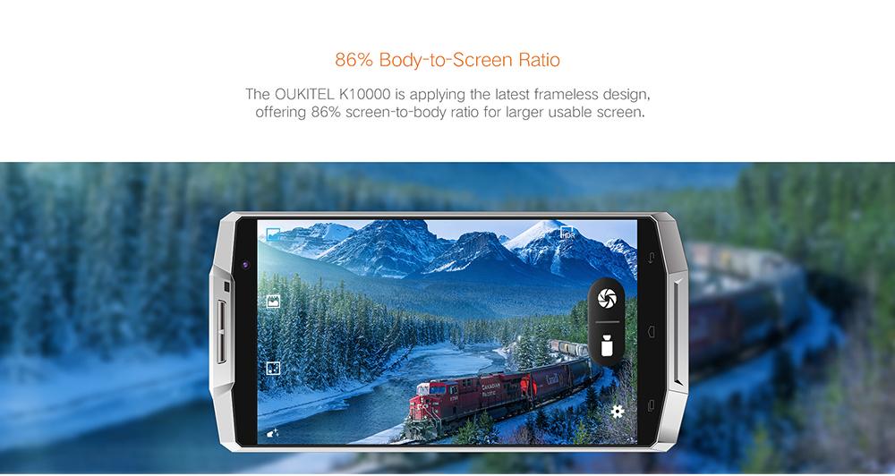 OUKITEL K10000 4G phablet comes with crispy display