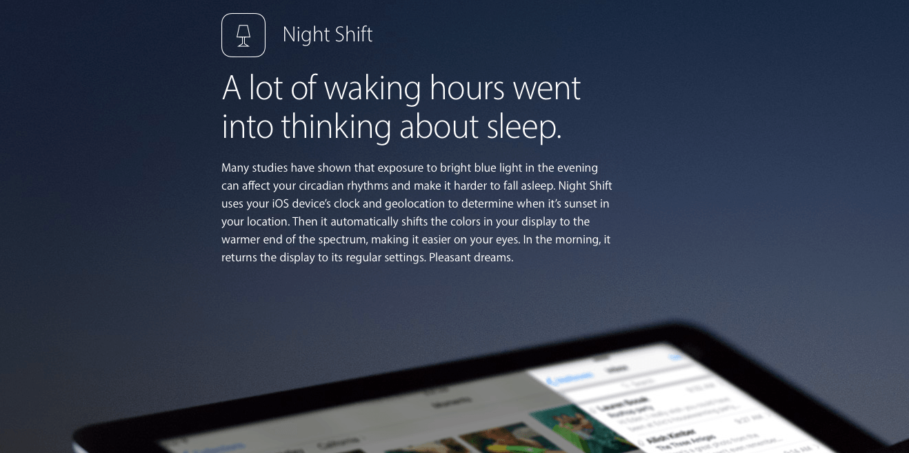 iOS 9.3 night shift mode on mac