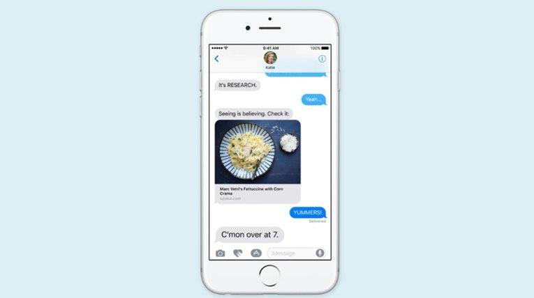 iOS 10 message