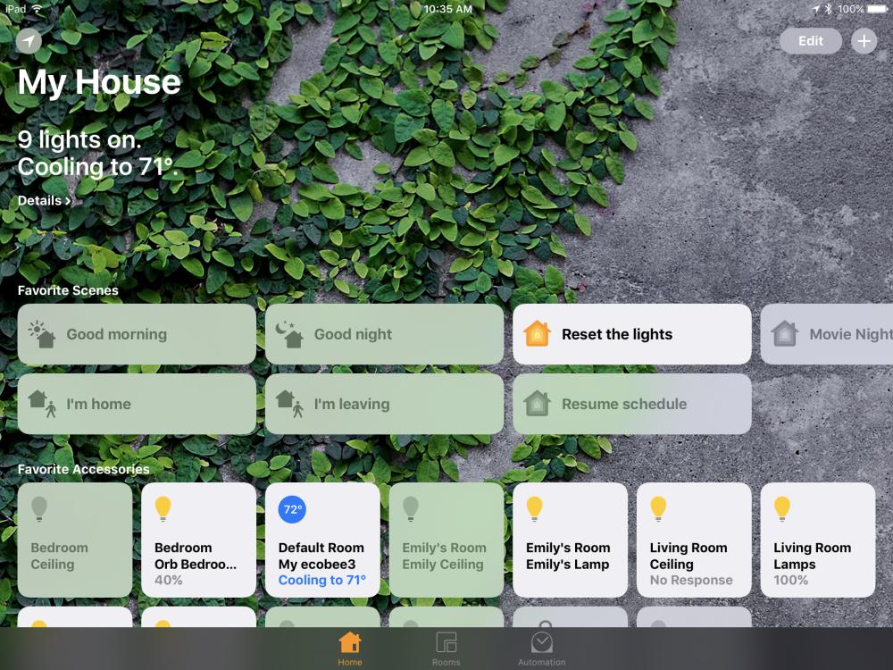 iOS 10 Apple HomeKit app - Home